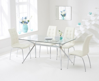 Mark Harris Salento 150cm Glass Dining Set with 4 California Cream Dining Chairs