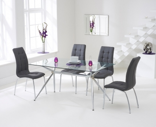 Mark Harris Salento 150cm Glass Dining Table with 4 California Grey Chairs