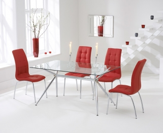 Mark Harris Salento 150cm Glass Dining Table with 4 California Red Chairs