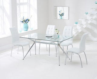 Mark Harris Salento 150cm Glass Dining Set with 4 California White Dining Chairs