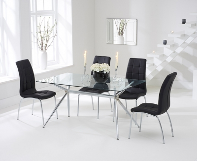 Mark Harris Salento Glass Dining Table and 4 California Chairs - Chrome and Black