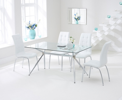 Mark Harris Salento Glass Dining Table and 4 California Chairs - Chrome and White
