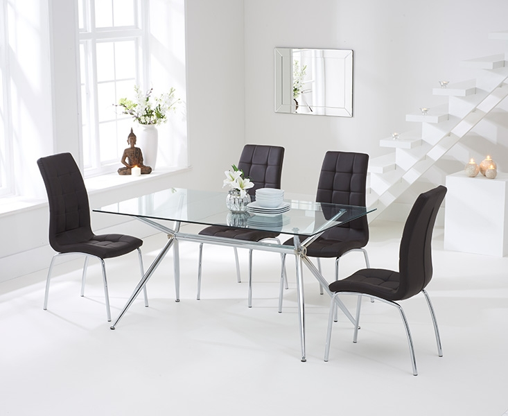 Mark Harris Salento 150cm Glass Dining Set with 4 California Brown Dining Chairs