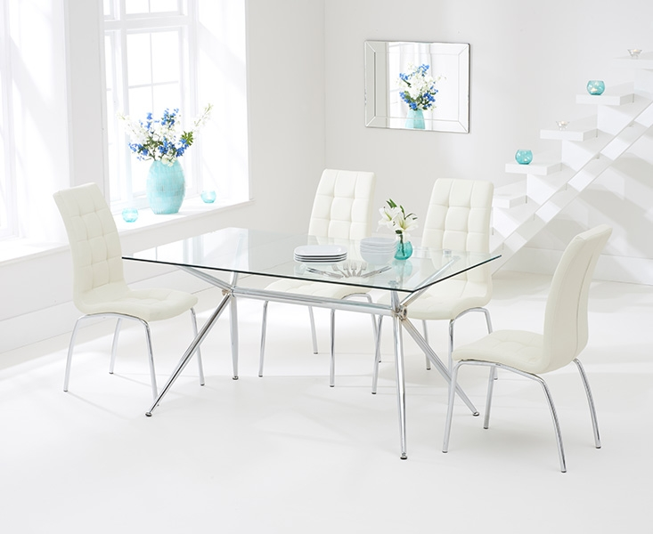 Mark Harris Salento 150cm Glass Dining Table with 4 California Cream Chairs