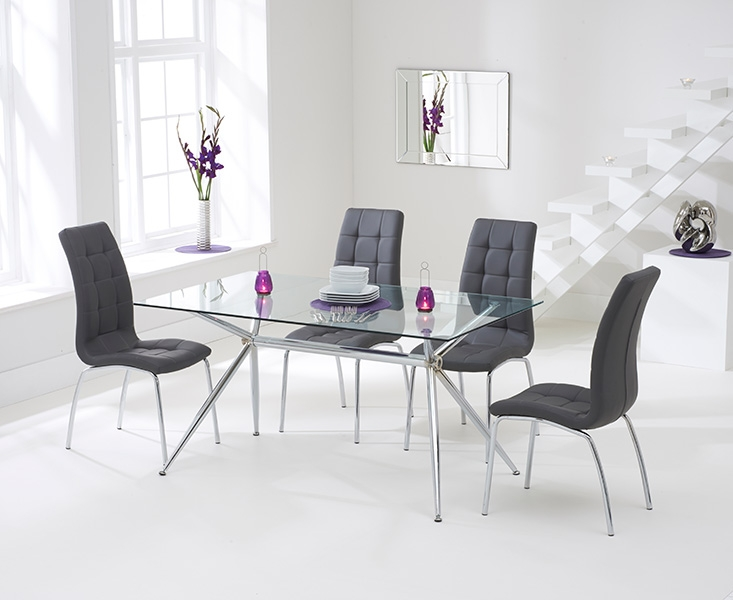 mark harris salento glass dining set 150cm with 4 california grey chairs - Dining Table With Grey Chairs