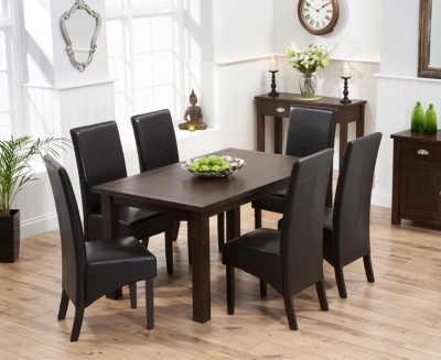 Mark Harris Sandringham Solid Dark Oak 150cm Fixed Top Dining Table with 6 Verona Brown Chairs