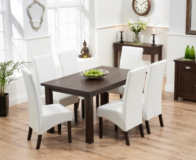 Mark Harris Sandringham Solid Dark Oak 150cm Fixed Top Dining Table with 6 Verona Ivory Chairs