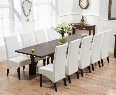 Mark Harris Sandringham Solid Dark Oak 180cm Extending Dining Set with 10 Verona Ivory Dining Chairs