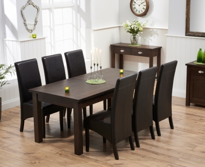 Mark Harris Sandringham Solid Dark Oak 180cm Extending Dining Table with 6 Verona Brown Chairs