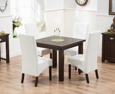 Mark Harris Sandringham Solid Dark Oak 90cm Flip Top Extending Dining Set with 4 Verona Ivory Dining Chairs