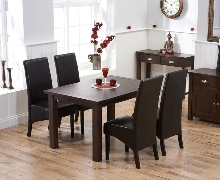 Mark Harris Sandringham Solid Dark Oak 130cm Fixed Top Dining Table with 4 Verona Brown Chairs