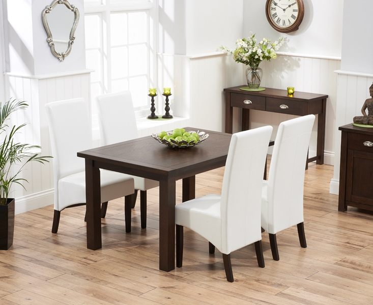 Mark Harris Sandringham Solid Dark Oak 130cm Fixed Top Dining Table with 4 Verona Ivory Chairs