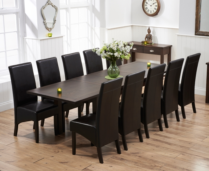 Mark Harris Sandringham Solid Dark Oak 180cm Extending Dining Table with 10 Verona Brown Chairs