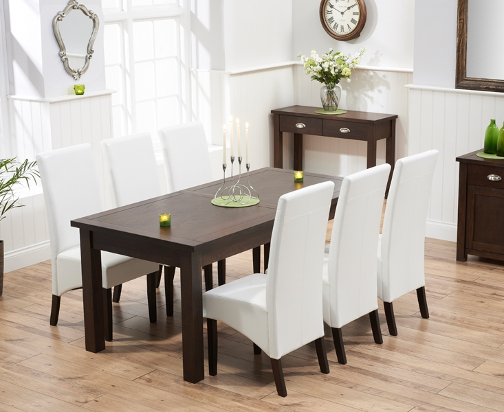 Mark Harris Sandringham Solid Dark Oak 180cm Extending Dining Table with 6 Verona Ivory Chairs