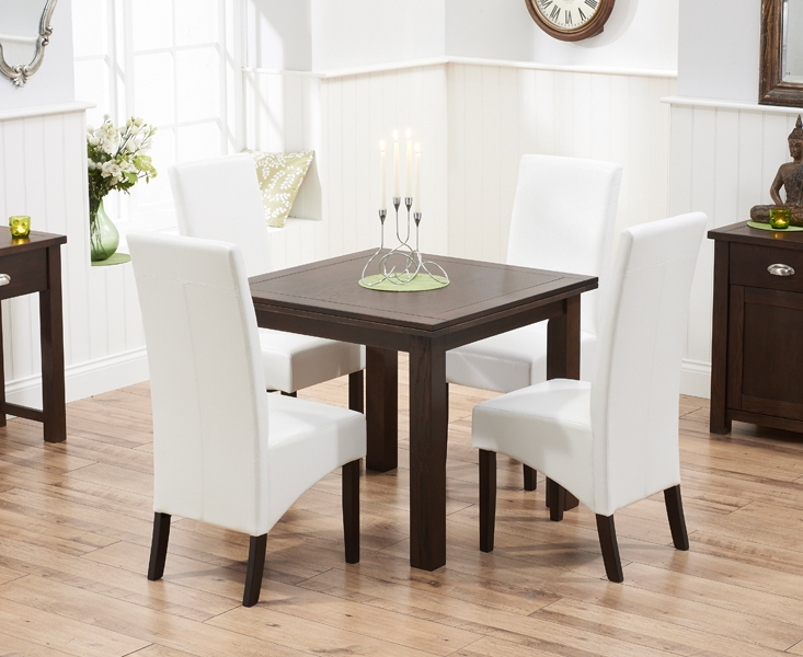 Mark Harris Sandringham Solid Dark Oak 90cm Flip Top Extending Dining Table with 4 Verona Ivory Chairs