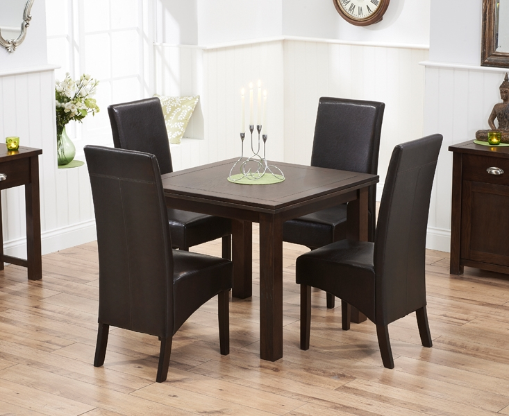 Mark Harris Sandringham Solid Dark Oak Dining Set - 90cm Square Flip Top Extending with 4 Dakota Brown Chairs