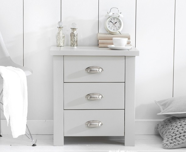 Mark Harris Sandringham Grey Bedside Cabinet - 3 Drawer