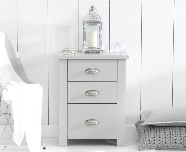 Mark Harris Sandringham Grey Painted Tall Bedside Cabinet
