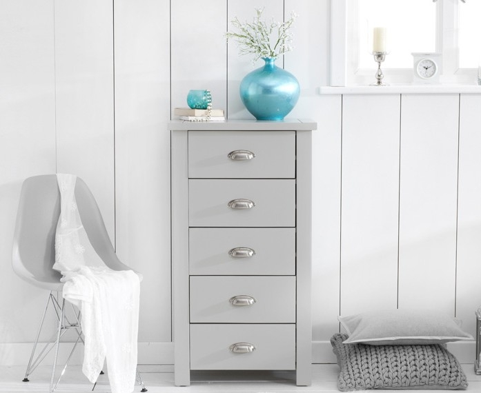 Mark Harris Sandringham Grey Chest of Drawer - Tall 5 Drawer