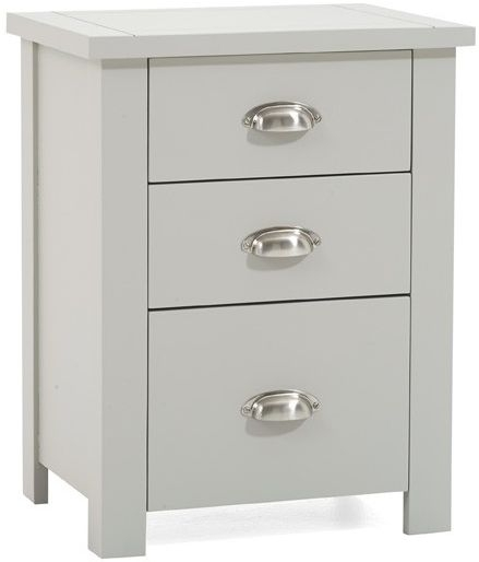 Mark Harris Sandringham Grey Tall 3 Drawer Bedside Cabinet