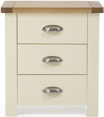 Mark Harris Sandringham Oak and Cream 3 Drawer Bedside Cabinet