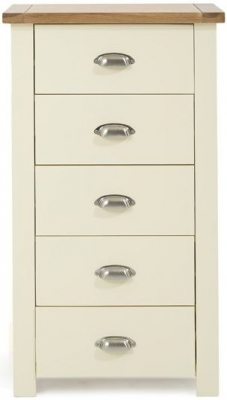 Mark Harris Sandringham Oak and Cream Tall 5 Chest of Drawer