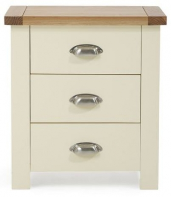 Mark Harris Sandringham Oak and Cream 3 Drawer Bedside Table