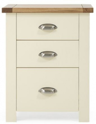 Mark Harris Sandringham Oak and Cream 3 Drawer Tall Bedside Table