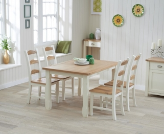 Mark Harris Sandringham Oak and Cream 130cm Dining Set with 4 Dining Chairs