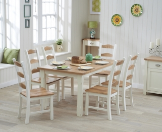 Mark Harris Sandringham Oak and Cream 130cm Dining Set with 6 Dining Chairs
