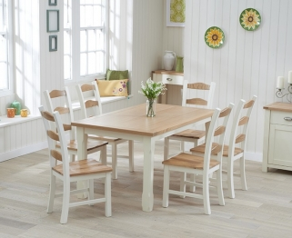 Mark Harris Sandringham Oak and Cream 150cm Dining Set with 6 Dining Chairs