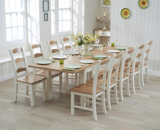Mark Harris Sandringham Oak and Cream 180cm Extending Dining Table with 10 Chairs