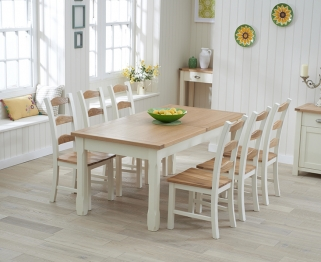 Mark Harris Sandringham Oak and Cream 180cm Extending Dining Table with 6 Chairs