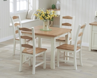 Mark Harris Sandringham Oak and Cream 90cm Flip Top Dining Table with 4 Chairs