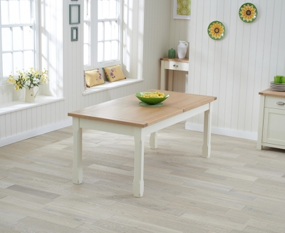 Mark Harris Sandringham Large Extending Dining Table - Oak and Cream