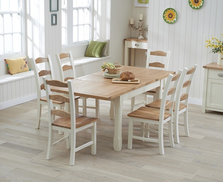 Buy mark harris sandringham oak and cream 130cm extending for Cream kitchen set