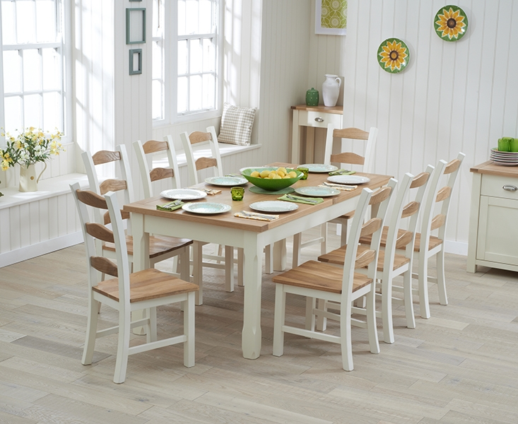 Mark Harris Sandringham Oak and Cream 130cm Extending Dining Set with 8 Dining Chairs