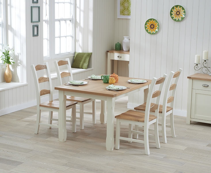 Mark Harris Sandringham Oak and Cream 150cm Dining Set with 4 Dining Chairs