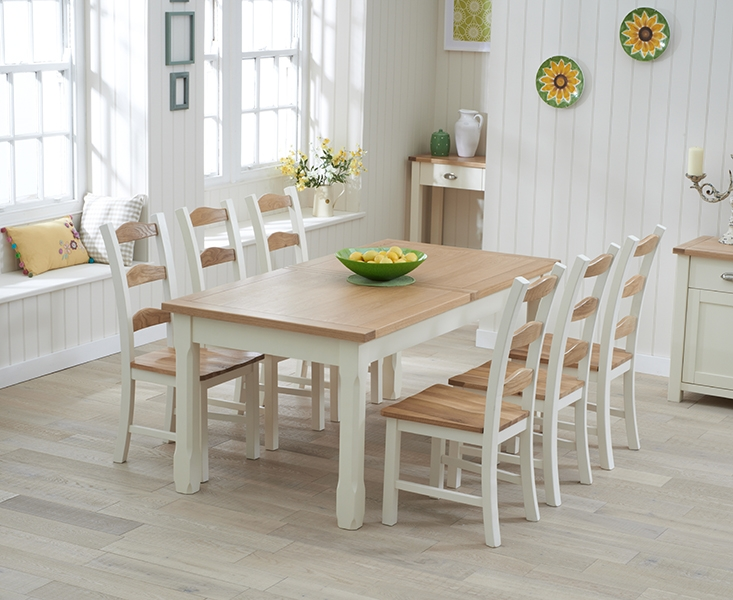 Buy Mark Harris Sandringham Oak And Cream 180cm Extending Dining Set With 6 D