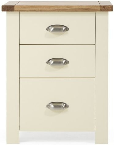 Mark Harris Sandringham Oak and Cream Tall 3 Drawer Bedside Cabinet