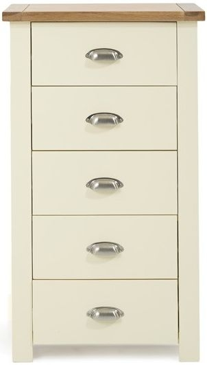 Mark Harris Sandringham 5 Drawer Tall Chest - Oak and Cream