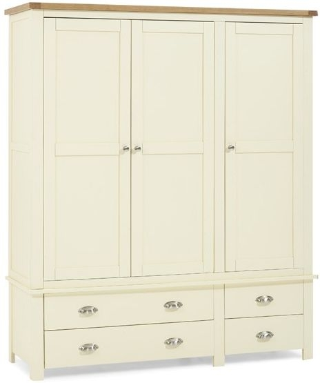 Mark Harris Sandringham Oak and Cream Triple Wardrobe