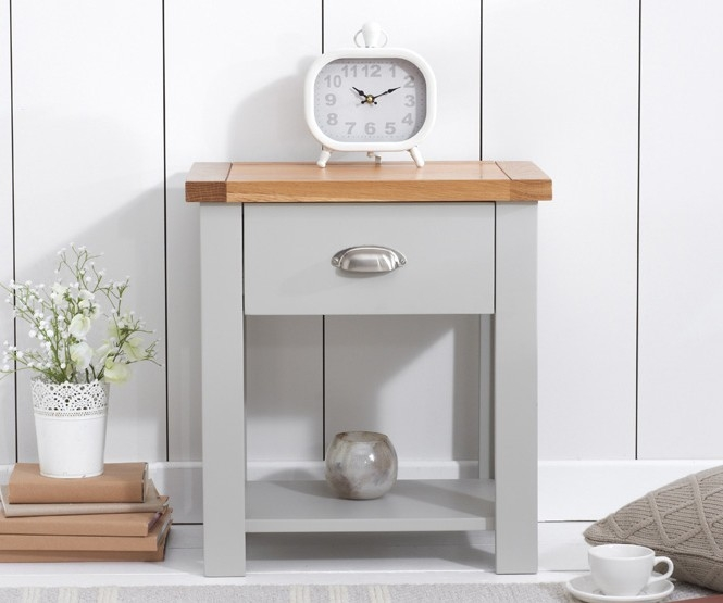 Mark Harris Sandringham Oak and Grey Bedside Cabinet - 1 Drawer