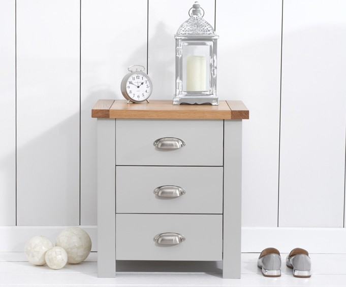Mark Harris Sandringham Oak and Grey Bedside Cabinet - 3 Drawer