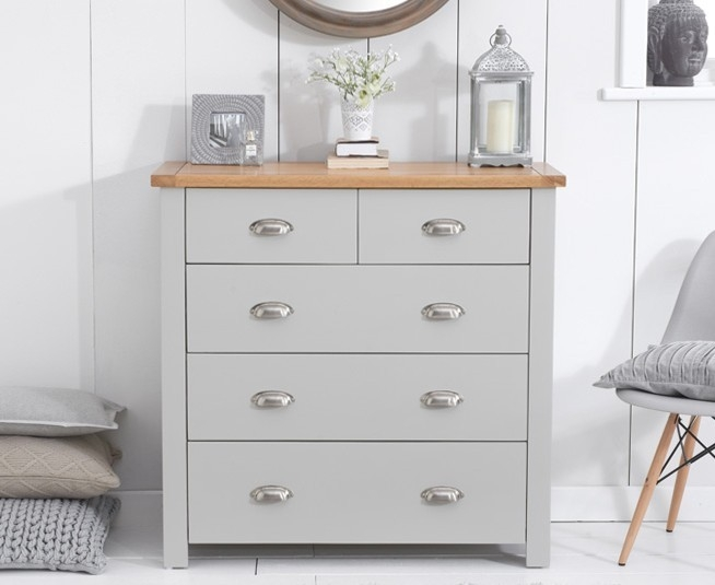 Mark Harris Sandringham Oak and Grey Chest of Drawer - 3 Over 2 Drawer