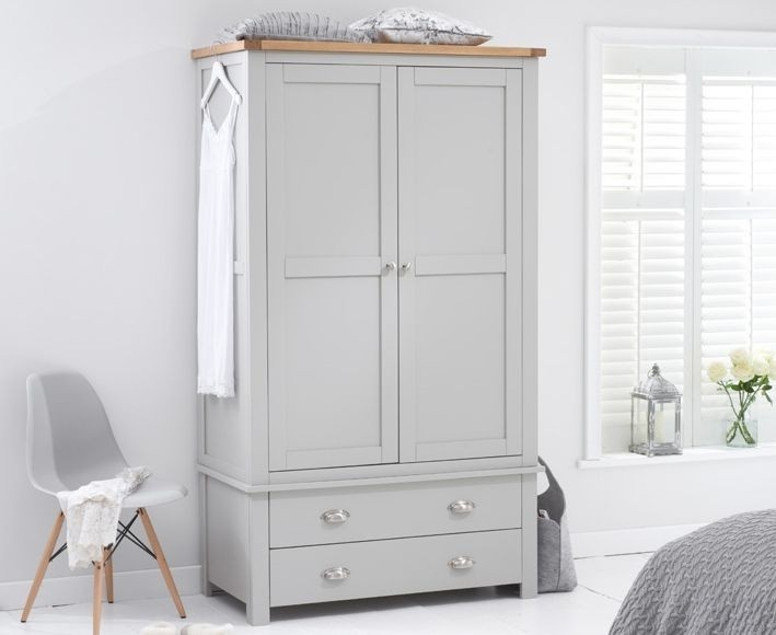 Mark Harris Sandringham Oak and Grey Gents Wardrobe - 2 Drawer