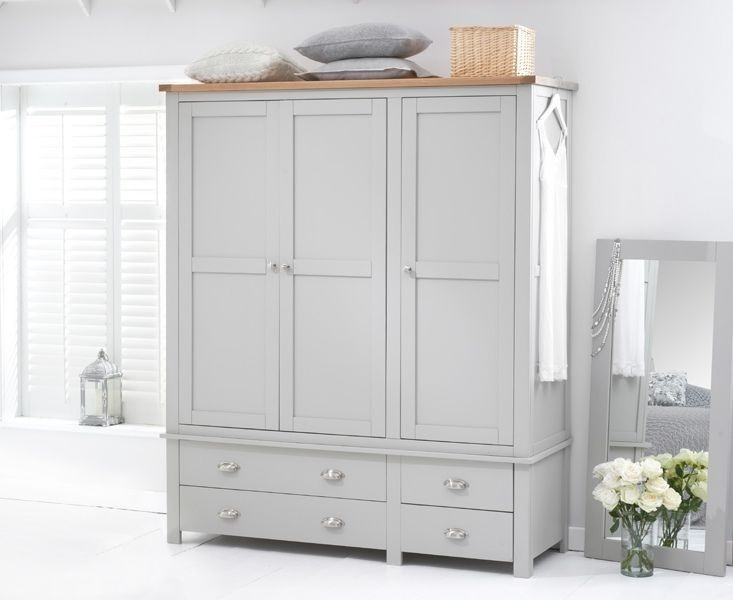 Mark Harris Sandringham Oak and Grey Triple Wardrobe