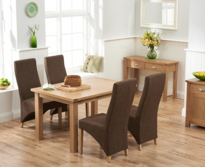 Mark Harris Sandringham Solid Oak 130cm Dining Set with 4 Harley Cinnamon Fabric Dining Chairs