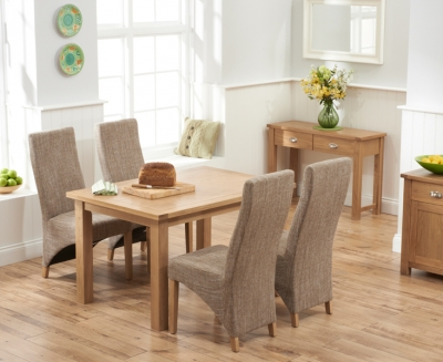 Mark Harris Sandringham Solid Oak 130cm Dining Table with 4 Harley Tweed Fabric Chairs