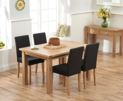 Mark Harris Sandringham Solid Oak 130cm Dining Set with 4 Maiya Black Fabric Dining Chairs